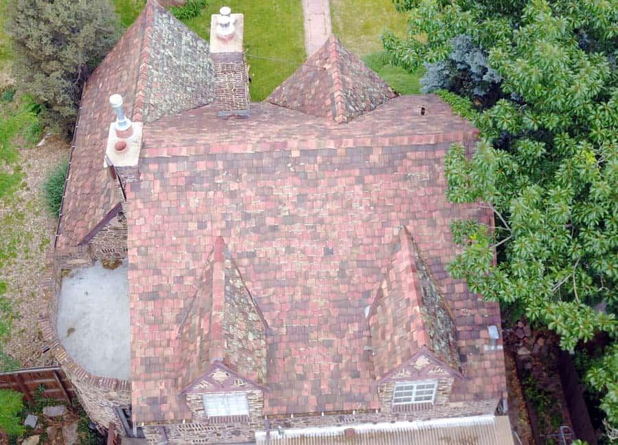 Aerial View of Clay Tile Roof