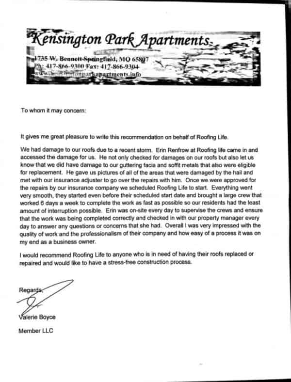 Roofing Project Testimonial