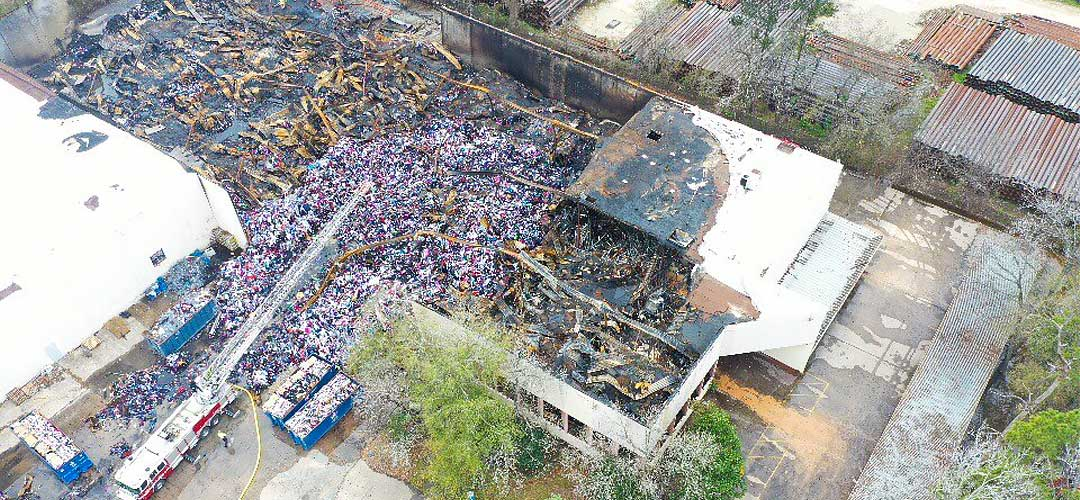 Aerial of Fire Damage Warehouse