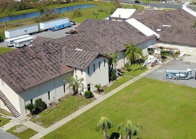 Hurricane Damage to Church Roof Stripped Shingles